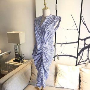 Veronica Beard Ruched Shirt Dress blue & white